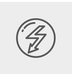Bubble with lightning arrow thin line icon vector
