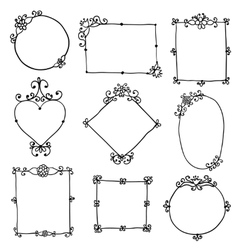 Frames with flowers and curls on a white vector