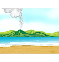 A view of the beach near a volcano vector
