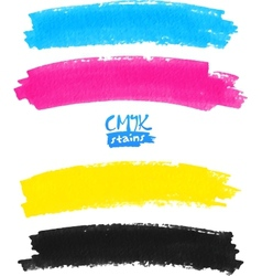 Cmyk colors marker stains vector