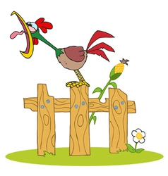 Loud rooster crowing on a wood fence vector