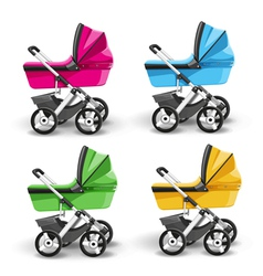 Colored strollers for baby boys and baby girls vector