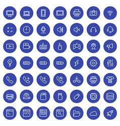 Thin line technology icons set for web and mobile vector