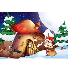 Santa outside the mushroom house vector