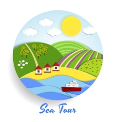 Sea tour eco emblem vector
