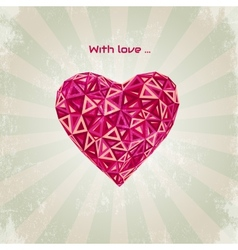 Happy valentines day card with low poly heart vector