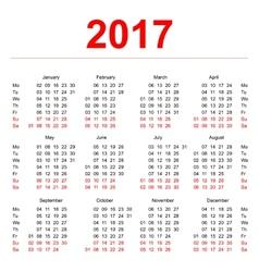 2017 calendar template vertical weeks first day vector