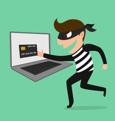 Thief hacker steal your data credit card and money vector