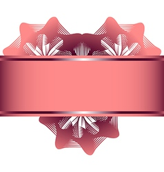 Lace flowers in the form of heart and pink ribbon vector