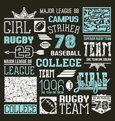 Rugby and baseball college team design elements vector