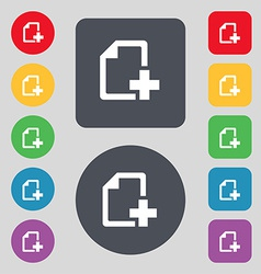 Add file document icon sign a set of 12 colored vector