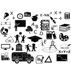 Education black icon set vector
