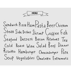 Set of hand drawn menu elements vector