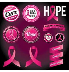 Breast cancer awareness ribbons and badges vector