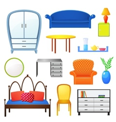 Set elements furniture isolated from the vector