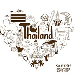 Thailand symbols in heart shape concept vector