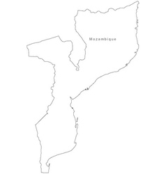 Black white mozambique outline map vector
