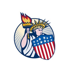 Lady statue of liberty with torch and shield vector
