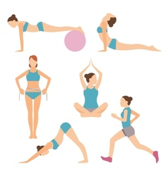 Icons of people exercising at the gym and fitness vector