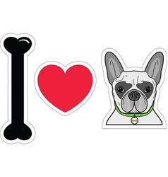I love french bulldog hipster with collar vector