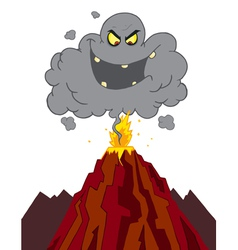 Evil ash cloud above an erupting volcano vector