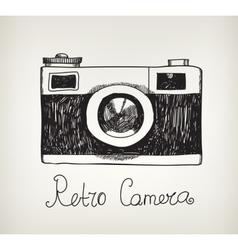 Retro hand drawn hipster photo camera vector