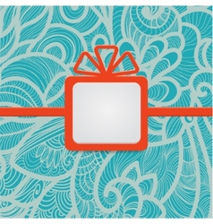 Gift with floral blue vector
