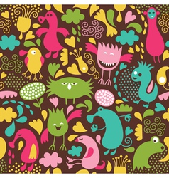 Cute monster background vector