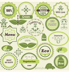 Set of eco labels and vegetarian design elements vector