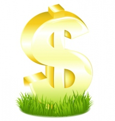 Golden dollar sign in grass vector