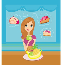 Diet eating temptation vector