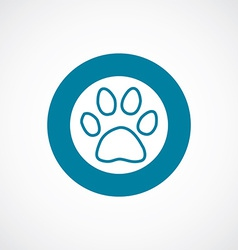 Cat footprint icon bold blue circle border vector