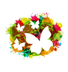 White butterflies on colorful grunge texture vector