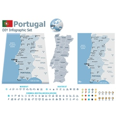Portugal maps with markers vector