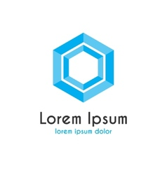 Logo with blue hexagon vector