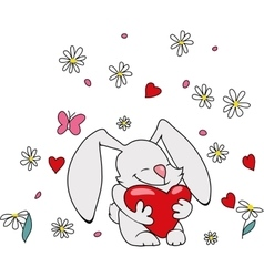 Cute bunny with heart vector