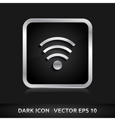 Wifi icon silver metal vector