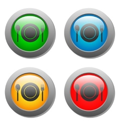 Plate spoon and fork icon on set glass button vector