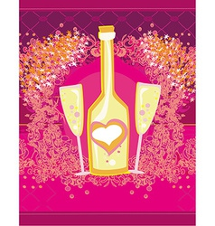 Abstract of wine bottle and wine glass vector