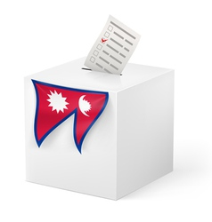 Ballot box with voicing paper nepal vector