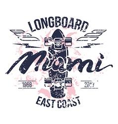 Longboard emblem retro print vector