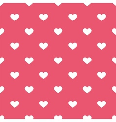 Tile cute pattern white hearts pink background vector