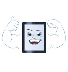Smiling powerful tablet computer 2 vector