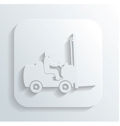 Silhouett of fork lift truck and operator vector