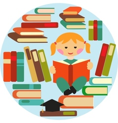 Girl reading on pile of books vector
