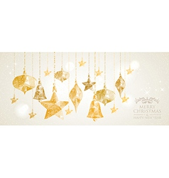Christmas holiday hanging baubles banner vector