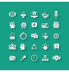 White flat icons set with long shadows business vector