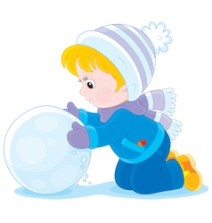 Child with a snowball vector