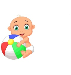 Cute baby cartoon holding colorful ball vector