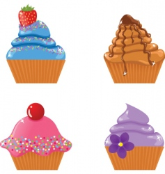 Set of four cupcakes vector